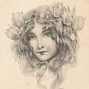 Art Nouveau 'Vienneoise Beauty' French Issue Postcard 1902