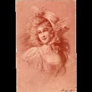 SALE Vienne French Signed 'Rouge' Art Nouveau Postcard 1900