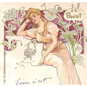 SALE French Art Nouveau 'Poppy' Postcard 1907