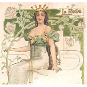 SALE French Art Nouveau 'Rose' Postcard 1908