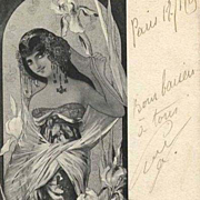 SALE Original Signed French 'Iris' Postcard 1905.