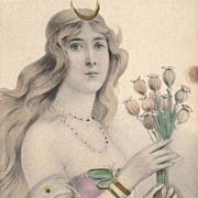 SALE Original Hand Tinted and Gilded German 'Valkyrie with Poppies' Lithographic Postcard c190