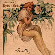 Art Nouveau French Lithographic 'Rose de Noel' Postcard 1904.