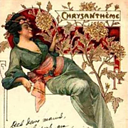 SALE Original Art Nouveau French 'Chrysanthemum' Lithographic Postcard 1905.