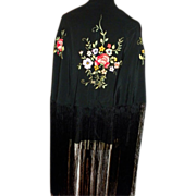 SALE Victorian Black Silk Piano Shawl with Floral Embroidery and Very Long Fringe c1890.