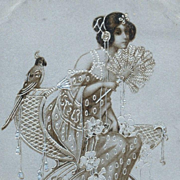SALE Antique Embossed Silver 'Maiden with Parrot and Fan' Postcard 1904.