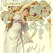 SALE Art Nouveau French Lithographic 'La Glycine' Postcard 1906.