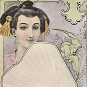 SALE Art Nouveau French Signed 'Oriental Woman with Bat and Fan' Postcard 1902.