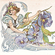 SALE Exquisite Art Nouveau 'Pansy Flower Lady'  French Postcard c1900.