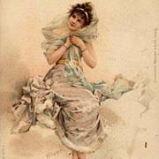 SALE 'Winter  Maiden'  German Chromo Vienne Postcard  1906
