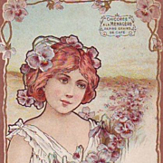 SALE Antique French Advertising 'Maiden with Pansies' Chocolate Embossed Postcard 1904.