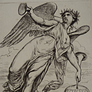 SALE Rare Original Signed French Etching 'Angel with Horns' 1878.