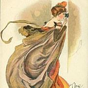 SALE English Art Nouveau Signed Masked Ball Lady Postcard c1900