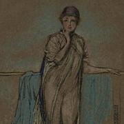 SOLD Antique British Art Nouveau Lithograph 'The Purple Cap' by Whistler 1905. - Red Tag Sale