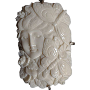 SALE Silver Framed 'Goddess and Butterflies' Cameo Pendant.