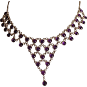 SALE Egyptian Revival Sterling Silver Chain and Amethyst Festoon Necklace.