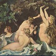 SALE German Artist 'Naked Nymphs with Swan' Postcard.
