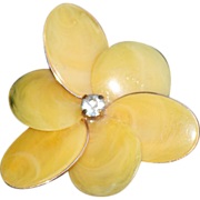 SALE Art Deco Yellow Celluloid Large Flower Clip Earrings.
