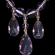 SALE Art Deco Czech Amethyst Glass Necklace. c1920.