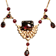 SALE Bohemian Etruscan Revival Brass and Garnet Glass Necklace.