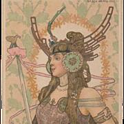 SALE Bohemian Art Nouveau Signed 'Brunhilde' Rare Postcard by Arpad Basch 1903