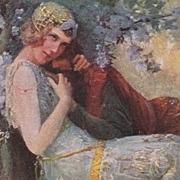 Russian Art Nouveau Artist Postcard 'Vivien and Merlin. c1910.