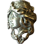 SALE Hand Crafted Art Nouveau Style Figural Lady Face Ring.