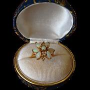 SALE Natural Australian 7 Opal 9K Yellow Gold Flower Set Dress Ring. c1970.