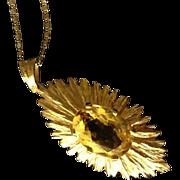 SALE Hallmarked Sunburst 9K Yellow Gold and Citrine Pendant on Beautiful 14K Gold Chain.