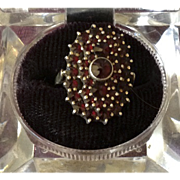 SOLD Victorian British Garnet Dress Ring 22K Gold.