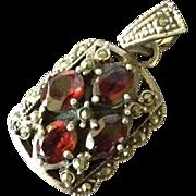 SALE Vintage Victorian Revival Silver Marcasite and Garnet Pendant