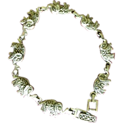 SALE Indian Made Elephant Asian Silver Marcasite Link Bracelet c1970