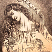 SALE 'Young Girl Playing a Harp' Small French Etching Signed Ribera 1621.