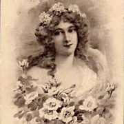 Art Nouveau French Monotone Maiden with Roses Postcard c1900.