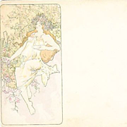 SALE Alphonse Mucha 'Autumn Panel' Original Signed French Postcard 1896.