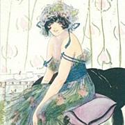 Art Deco English Signed 'Boudoir Gypsy' Postcard c1918