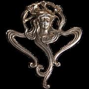 Art Nouveau Sterling Silver Lady Face Pendant Brooch c1900.