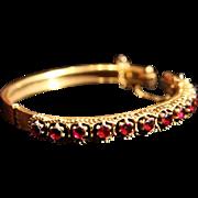 Large Rhodolite Garnet Etruscan Revival Gold-Washed Hinged Bangle Bracelet.