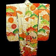 SALE Vintage Figured Cream and Embroidered Floral Silk Furisode Kimono c1940.