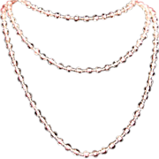 SALE Art Deco Pink Art Glass Bead Long Flapper Necklace c1925.