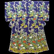 SALE Vintage Blue/Purple Silk Floral Houmongi Visiting Dress Kimono c1940.