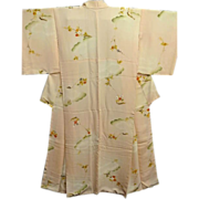 SALE Vintage Creamy Peach Silk Kimono with Camellia and Clouds c1930's