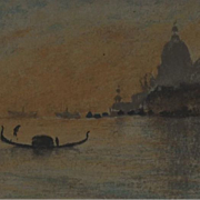Antique Venetian Sunset Color Lithograph 'The Salute' by Whistler c1895.
