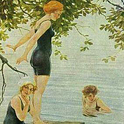 Art Deco German Signed 'The Bathers' Postcard c1918