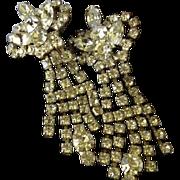 SALE Unique Rhinestone Dangle Art Deco Clip Back Earrings.