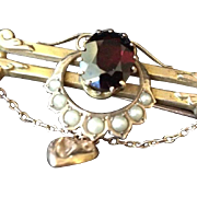 SALE Victorian Garnet Seed Pearl and 9ct Rose Gold-wash Bar and Horse Shoe Brooch Pin with Puf