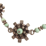 SALE Art Deco Turquoise 800 Silver and Rhodium Plate Flower Necklace.