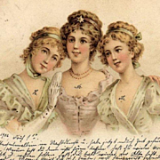 Antique German 'Vienneoise Three Ladies' Postcard 1902