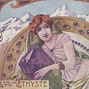 Stunning Art Nouveau French Amethyst Postcard