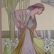 Antique French 19th Century Color Chromo Lithograph from Le Journal de la Decoration.